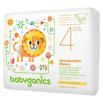 Babyganics Ultra Absorbent Disposable Diapers - Size 4 (27 ct)