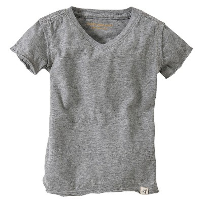 Burt's Bees Baby™ Infant Boy Solid Short Sleeve Reverse Seam V-Neck T-Shirt - Heather Gray 18 M