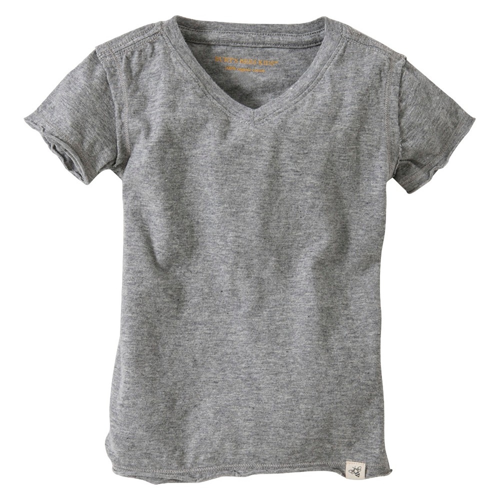 Burts Bees Baby Infant Boy Solid Short Sleeve Reverse Seam V-Neck T-Shirt - Heather Gray 18 M