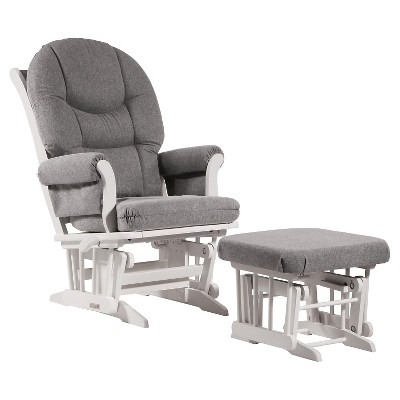 Dutailier Sleigh Glider with Ottoman - White/Dark Gray