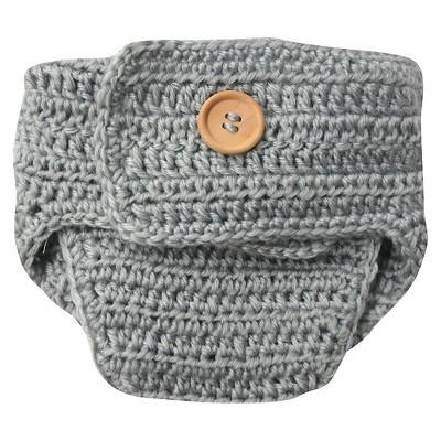 Newborn Crocheted Bunny Diaper Cover - Grey 0-6 M