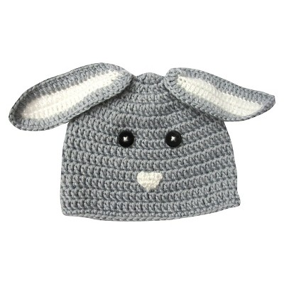 Newborn Crocheted Bunny Hat - Grey 0-6 M
