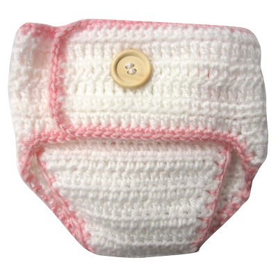 Newborn Girls' Crocheted Flower Diaper Cover - Pink 0-6 M