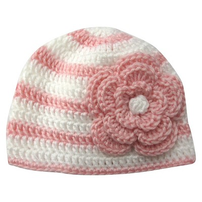 Newborn Girls' Floral Knitted Beanie- Pink/White