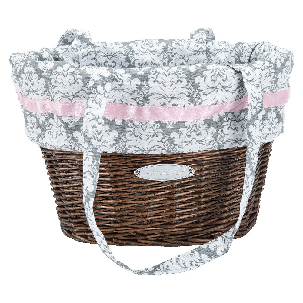 Huffy Wicker Bike Basket with Liner Bag - Gray Demask, Multi-Colored