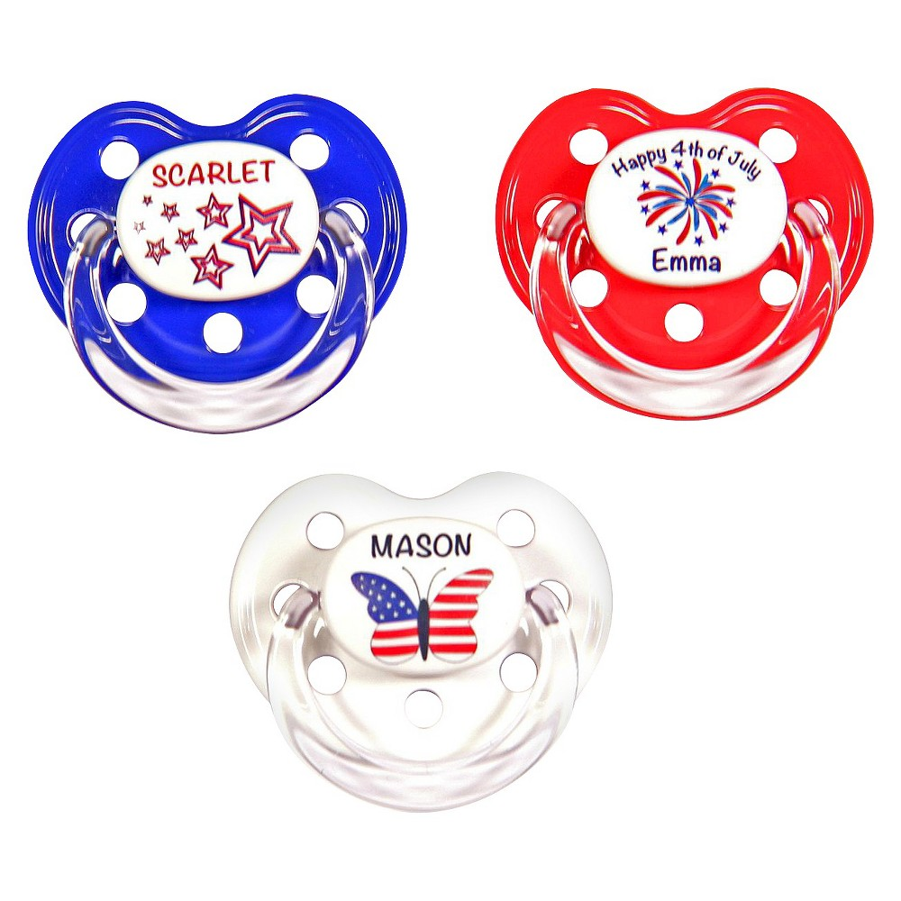 MeaMagic 4th of July Personalized Pacifier Set, Multi-Col...