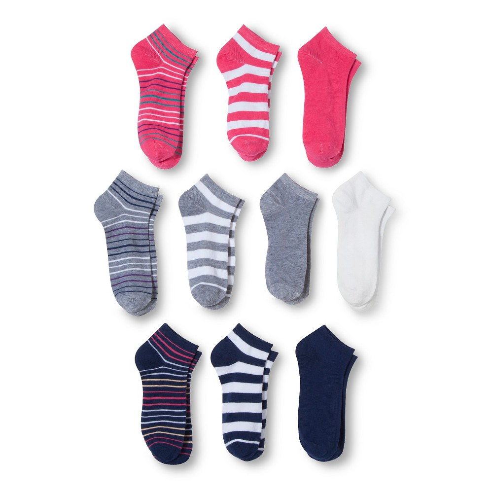 Modern Heritage Womens Stripe Solid Combo Low Cut Sock 10-Pack - Bright Pink 9-11