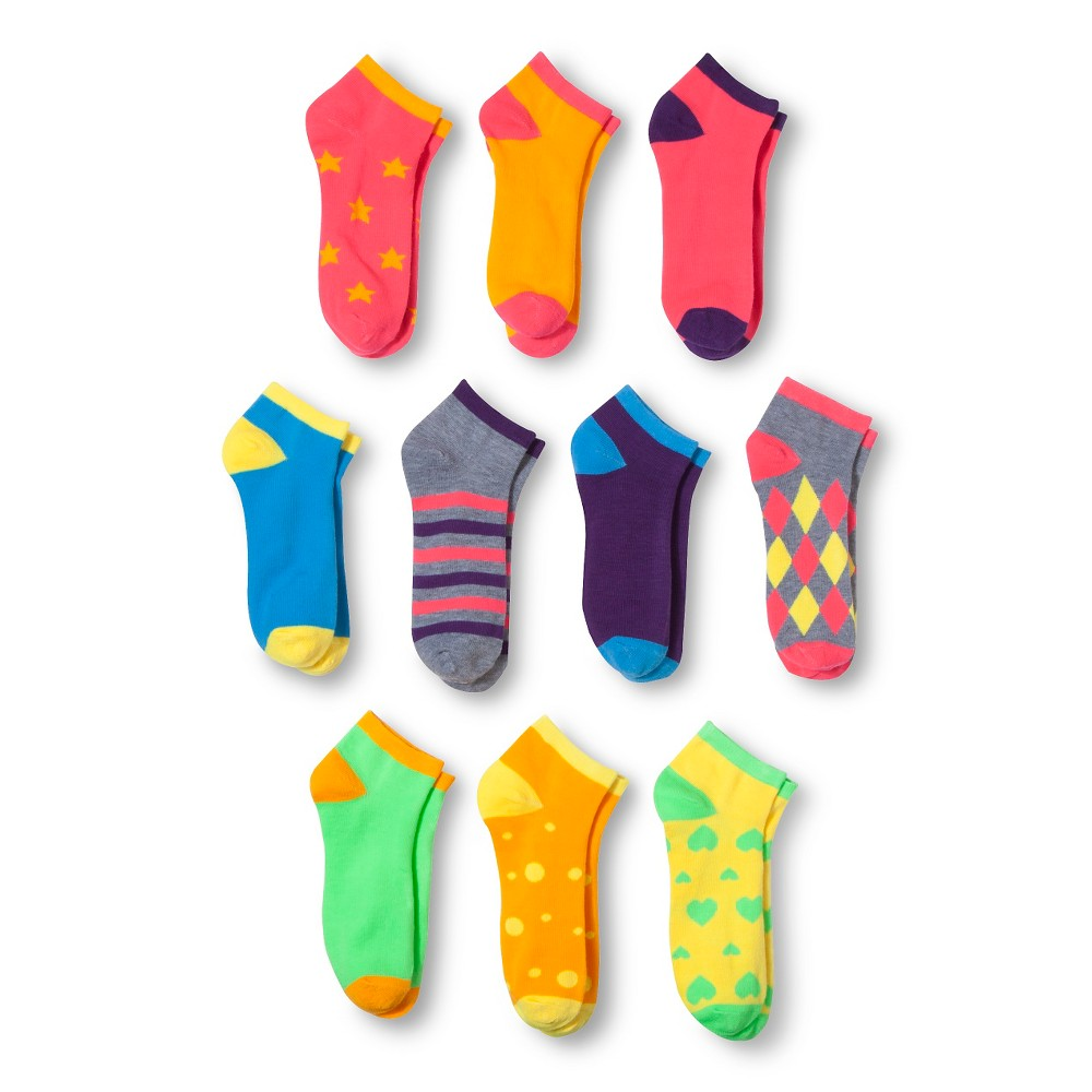 Modern Heritage Womens Star Combo Low Cut Sock 10-Pack - Bright Pink 9-11