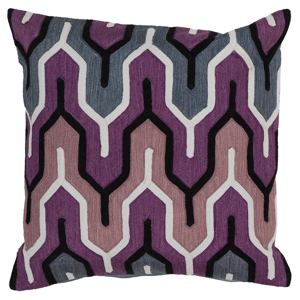 Eggplant Aztec Print Throw Pillow 18″x18″ – Surya