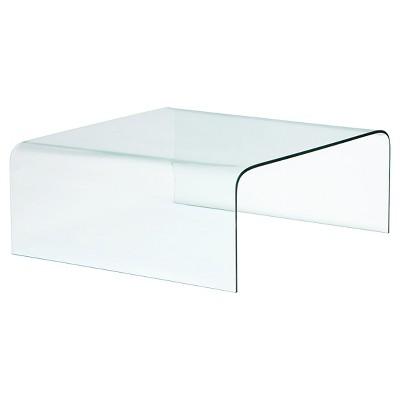 Modern tempered glass 39 square coffee table clear zm for Tempered glass coffee table