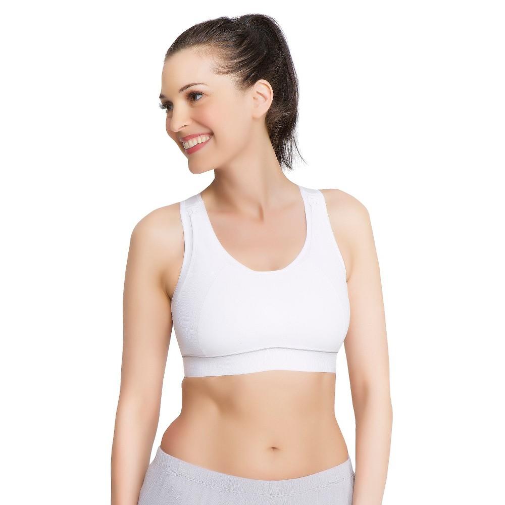 La Leche League Womens Nursing Sports Bra - White S