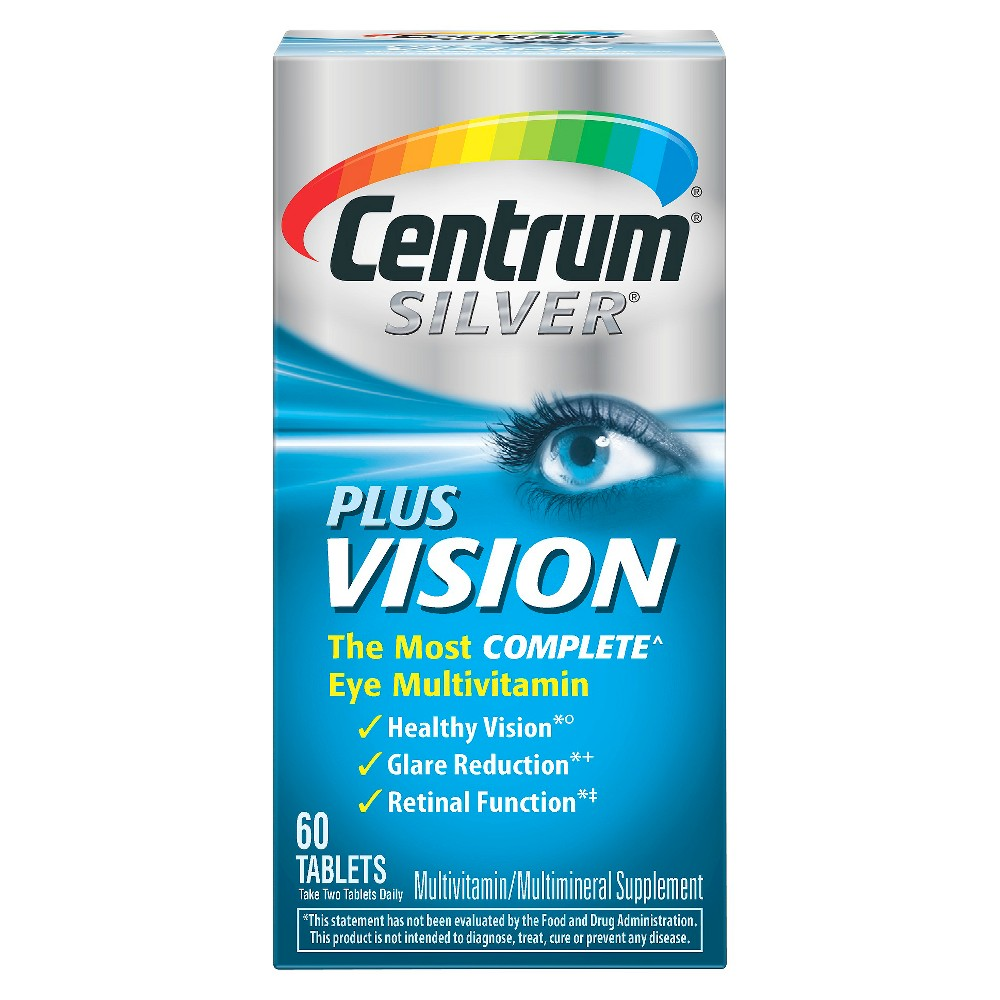 Centrum Silver Plus Vision Eye Multivitamin Tablets - 60 Count Find Vitamins and Supplements at Target.com! Centrum Silver Plus Vision is the most complete eye multivitamin expertly designed to support the most important parts of you. With 25 age adjusted nutrients to support whole body health, in addition to 10mg of Lutein and 2mg of Zexanthin to support eye health, Centrum Silver Plus Vision helps support healthy vision, glare reduction, and retinal function. As we age, issues with our vision can begin to surface, affecting the ability to perform the most basic everyday functions. Centrum Silver Plus Vision helps to support eye health and provides a trusted, quality multivitamin, all in one product. Gender: Unisex.