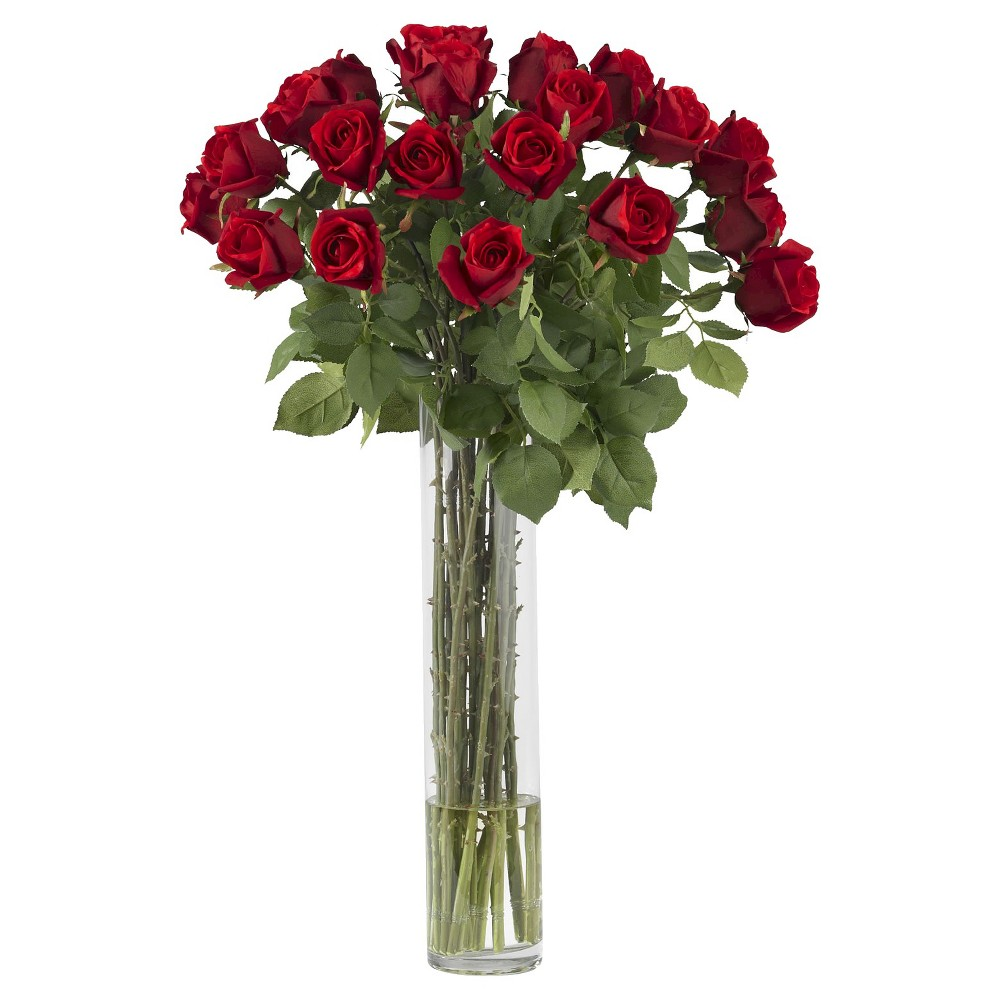 Nearly Natural Rosebud w/Cylinder Silk Flower Arrangement, Red