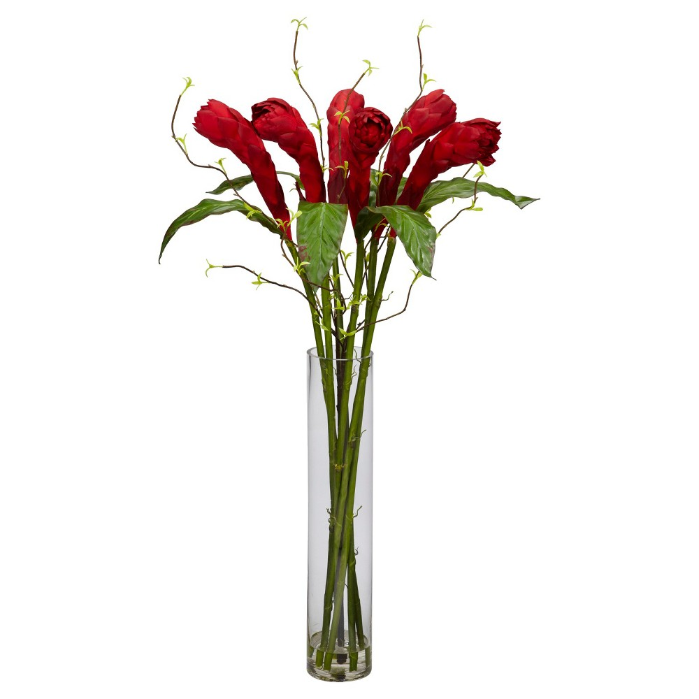Nearly Natural Ginger w/Cylinder Vase Silk Flower Arrangement, Red