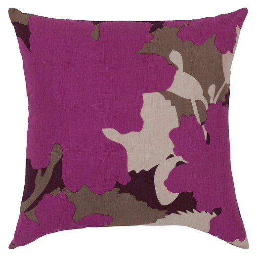 Modern Floral Throw Pillows : Magenta Modern Floral Throw Pillow 22