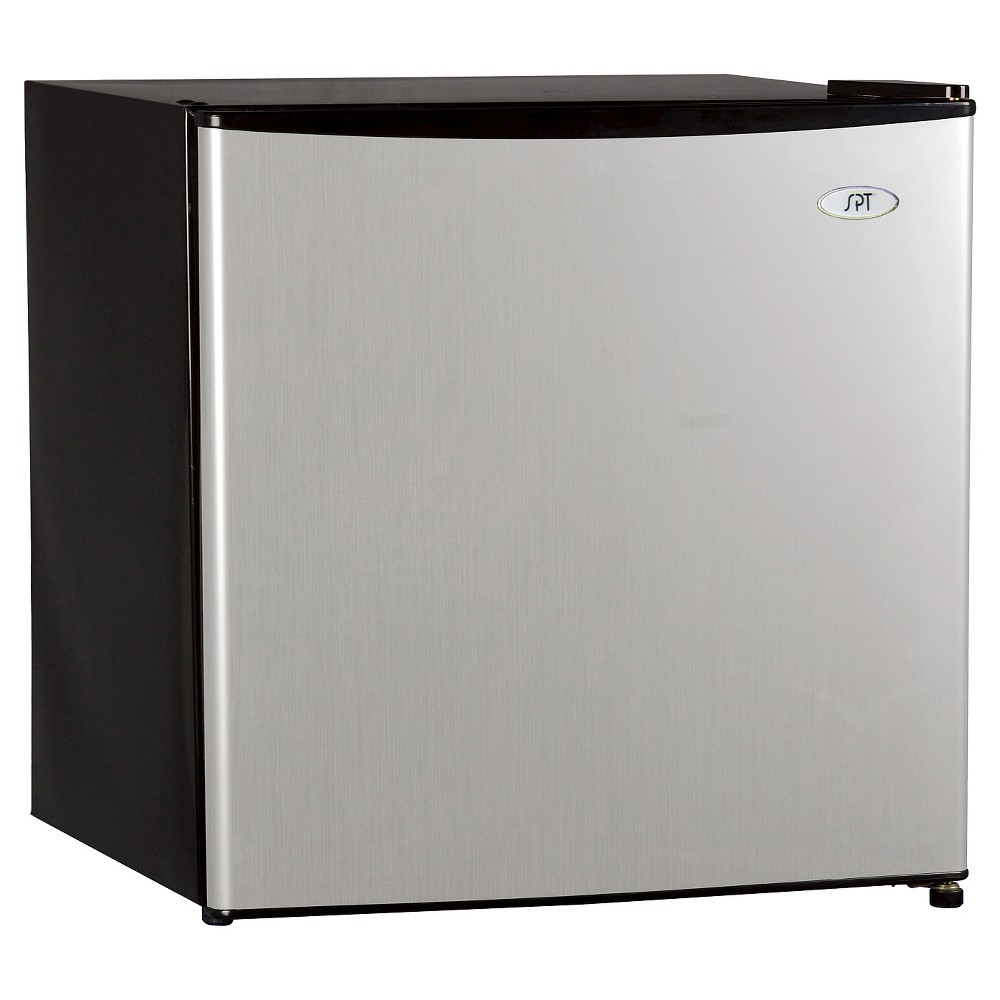 Sunpentown 1.6 Cu. Ft. Mini Refrigerator - Stainless Steel RF-164SS, Black This Sunpentown 1.6 cubic foot refrigerator with its flush back and compact design is ideal for college dorm room or office, and perfect for counter-top placement. Its reversible door offer versatility. It also features a tall bottle door rack, removable shelf, adjustable thermostat, and a slide-out wire shelf for storage versatility. It is a freestanding appliance that is Energy Star rated. Color: Black.