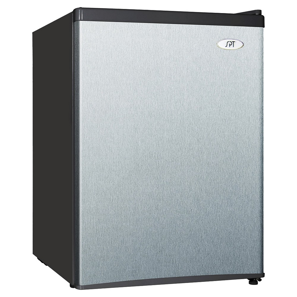 Sunpentown 2.4 Cu. Ft. Mini Refrigerator - Stainless Steel RF-244SS, Black Find Refrigerator-Freezers at Target.com! This Sunpentown 2.4 cubic foot stainless steel compact refrigerator with its flush back and compact design is ideal for the college dorm room or office and perfect for counter-top placement. The reversible doors and slide-out wire shelves offer versatility. Features include a tall bottle door rack, 7-inch wide freezer compartment, and an adjustable thermostat. Other features: front leveling legs, Hcfc free, and Energy Star rated. Color: Black.