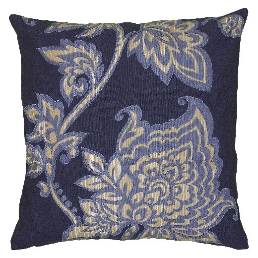 Navy/Ivory Embroidered Throw Pillow (18