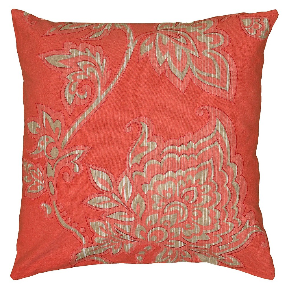 "Image of ""Coral/Ivory (Pink/Ivory) Embroidered Throw Pillow (18""""x18"""") - Rizzy Home"""