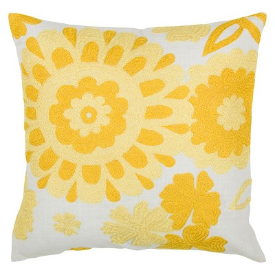 Yellow/White Embroidered Floral Throw Pillow 18 x18  - Rizzy Home®