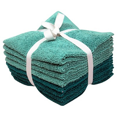 8-pk. Solid Textured Washcloth Set - Teal Blue/Sunbleached Turquoise - Room Essentials™