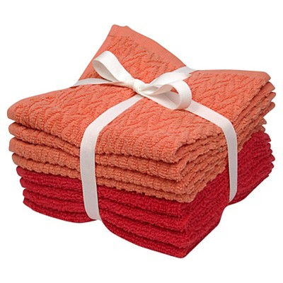 8-pk. Solid Textured Washcloth Set - Ultra Coral/Georgia Peach - Room Essentials™