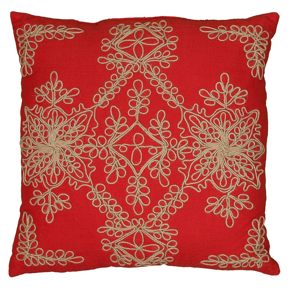"""Image of """"Red Jute Embroidered Throw Pillow 18""""""""x18"""""""" - Rizzy Home, Red/Natural"""""""