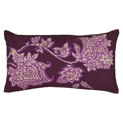 Purple/Ivory Embroidered Print Throw Pillow (11