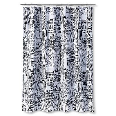 City Sketch Shower Curtain - Black/Opaque - Room Essentials™