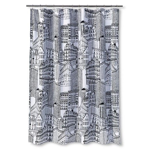 city sketch shower curtain - black/opaque - room essentials™ : target