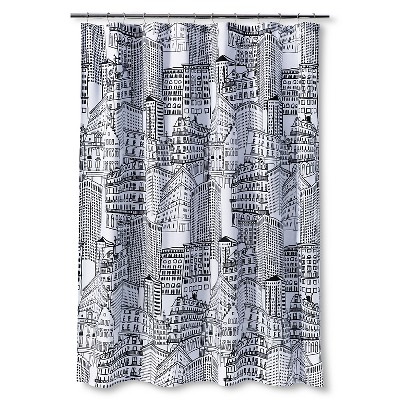 city sketch shower curtain blackopaque room essentials