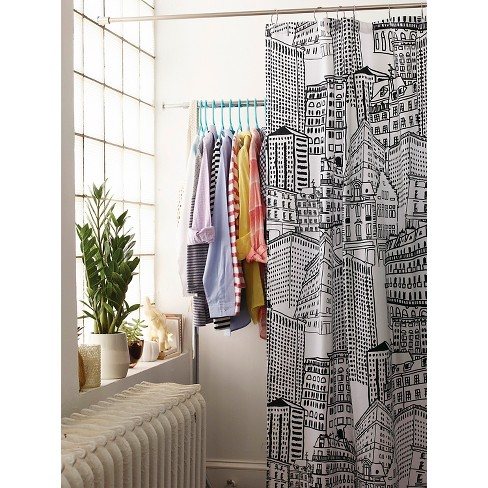 black and turquoise shower curtain.  City Sketch Shower Curtain Black Opaque Room Essentials Target