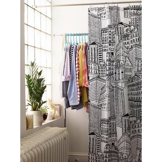 Black Shower Curtains city sketch shower curtain - black/opaque - room essentials™ : target