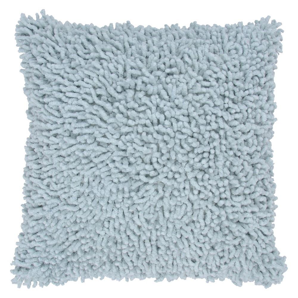 """Aqua (Blue) Shag Throw Pillow 18""""""""x18"""""""" - Rizzy Home"""