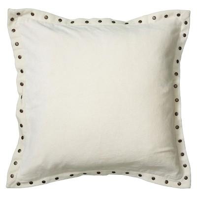 White Riveted Velvet Throw Pillow 18 x18  - Rizzy Home®