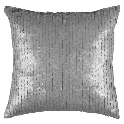 Silver Luxurious Sequined Throw Pillow (18 x18 )- Rizzy Home
