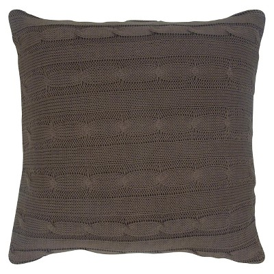 Brown Sweater Knit Throw Pillow 18 x18  - Rizzy Home®
