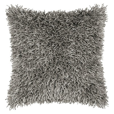 Gray Tufted Shag Throw Pillow 18 x18  - Rizzy Home®