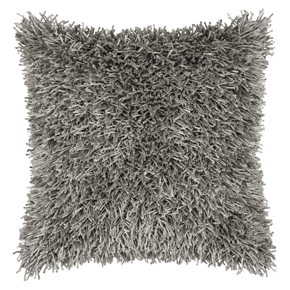 """Image of """"Gray Tufted Shag Throw Pillow 18""""""""x18"""""""" - Rizzy Home"""""""