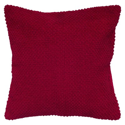 Red Handloom Textured Throw Pillow 20 x20  - Rizzy Home®