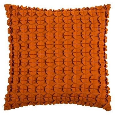 Orange Sewn Circles Throw Pillow 20 x20  - Rizzy Home®