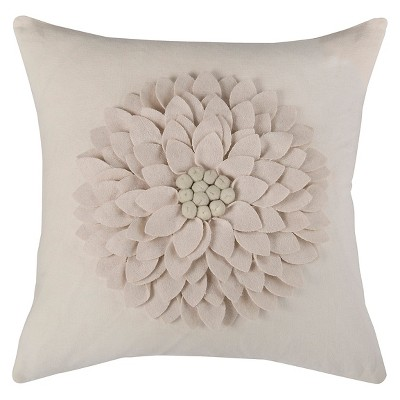 Ivory 3D Felt Blossom Throw Pillow (18 x18 )- Rizzy Home