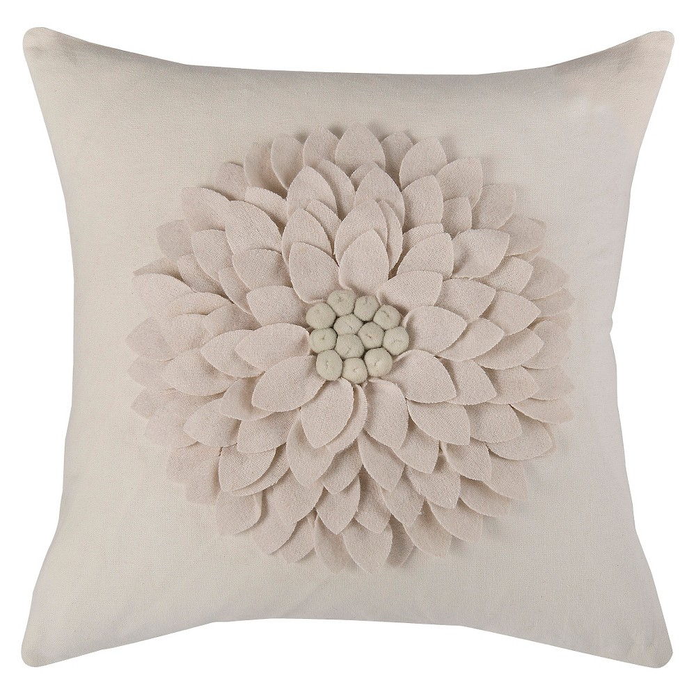 """Image of """"Ivory 3D Felt Blossom Throw Pillow (18""""""""x18"""""""") - Rizzy Home"""""""