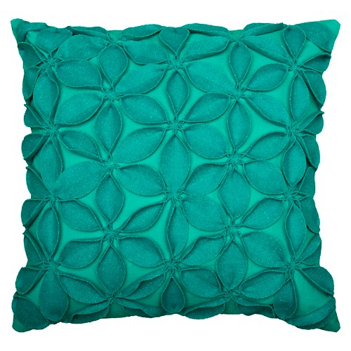 'Teal (Blue) Leaves Applique Throw Pillow (18''x18'') - Rizzy Home'