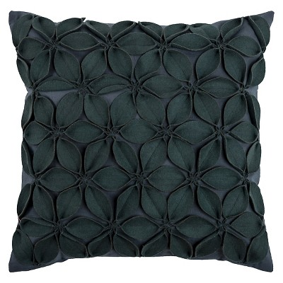 Dark Gray Leaves Throw Pillow 18 x18  - Rizzy Home®