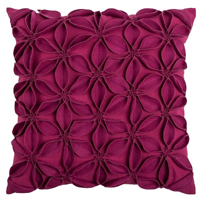 Pink Leaves Throw Pillow Raspberry 18 x18  - Rizzy Home®