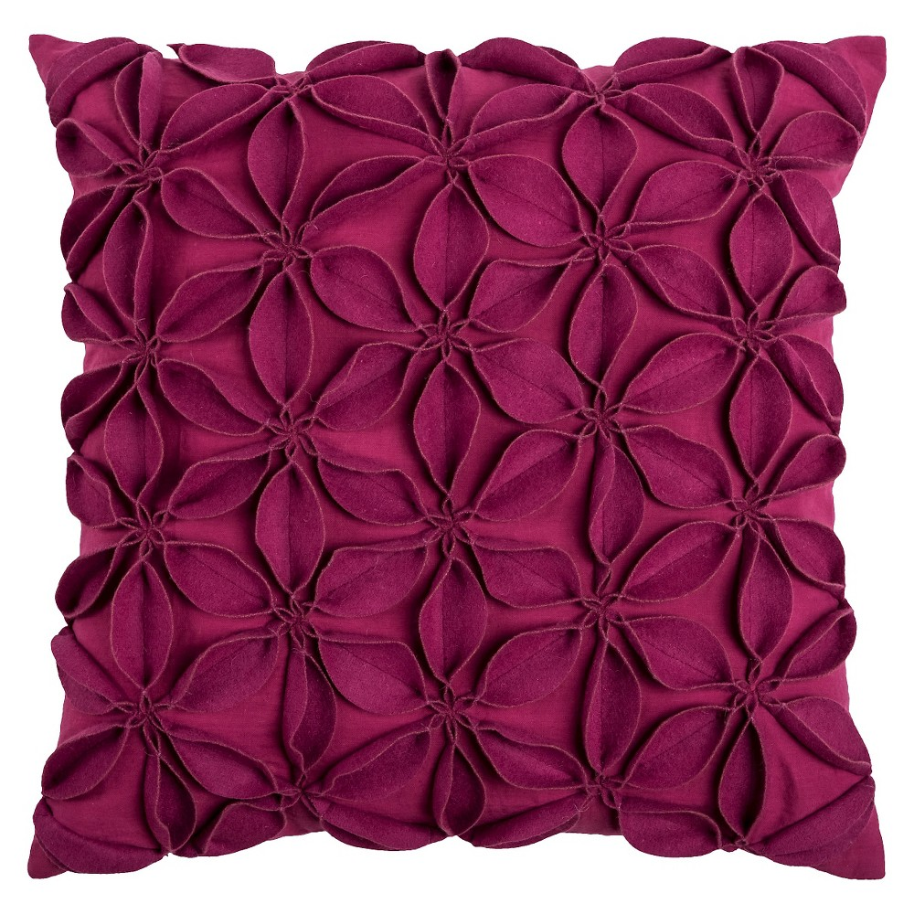 "Image of ""Pink Leaves Throw Pillow Raspberry 18""""x18"""" - Rizzy Home, Raspberry/Pink"""