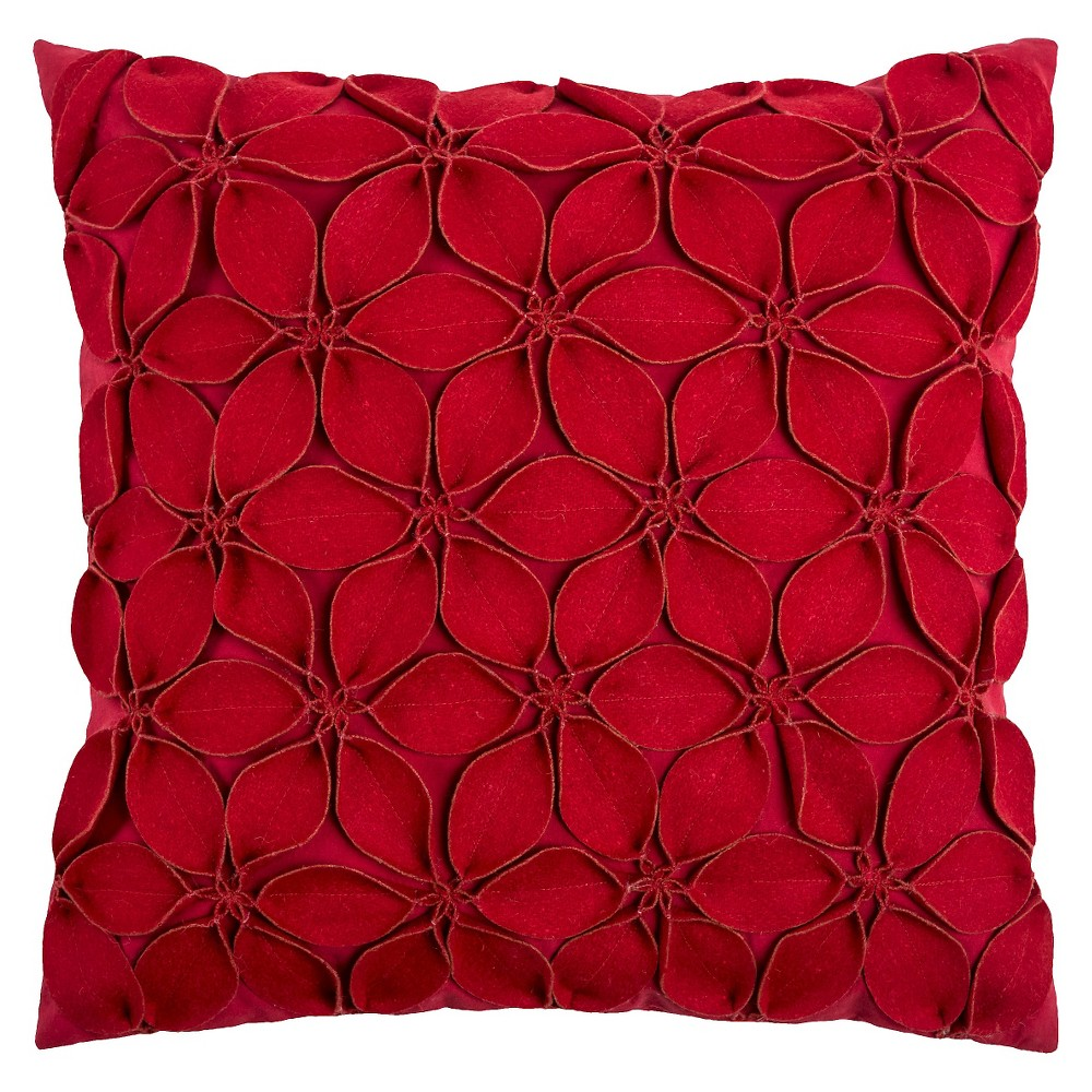 "Image of ""Red Leaves Throw Pillow 18""""x18"""" - Rizzy Home"""
