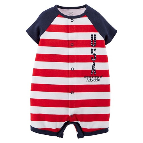 Just One YouMade by Carter's Newborn Boys' Striped USA Romper - Red 12 M, Newborn Boy's