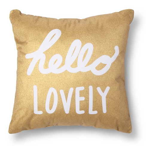"Gold & White ""Hello Lovely"" Throw Pillow - Xhilaration™ - image 1 of 3"